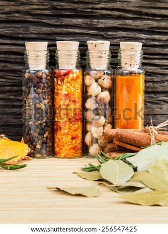 Food Cooking ingredients. - Spice taste with copy space. - stock photo