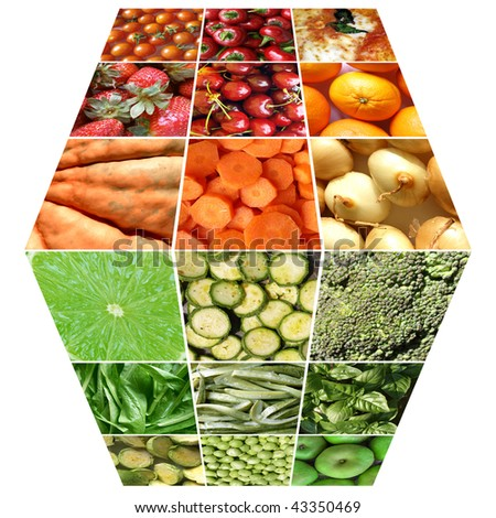 Food cube with many vegetables and fruits