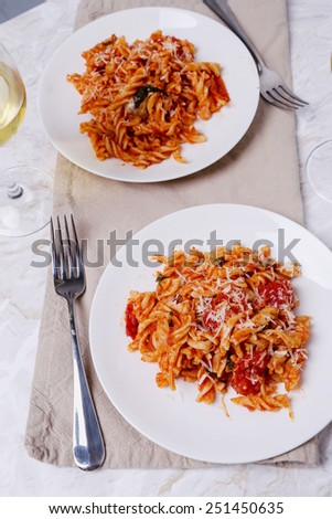 Food. Delicious pasta in the restaurant - stock photo