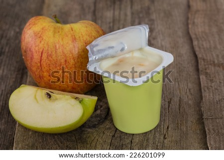Food. Delicious yoghurt on the table - stock photo
