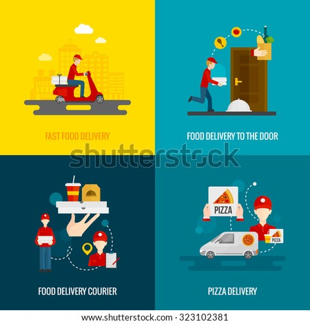 Food delivery fast to the door and by courier flat icons set isolated  illustration  - stock photo
