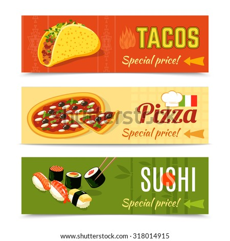 Food delivery horizontal banner set with tacos pizza sushi isolated  illustration