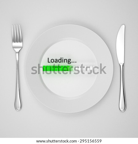 Food delivery. Loading bar on a plate. Order food via the Internet - stock photo