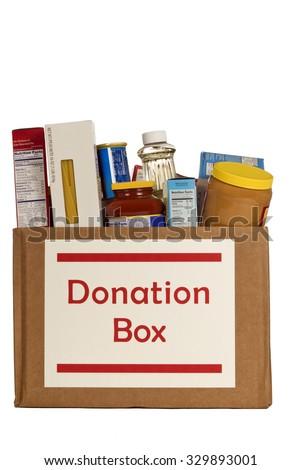 Food Donation Box Isolated On White Background/ Food Donation Box Full Of Food Isolated - stock photo