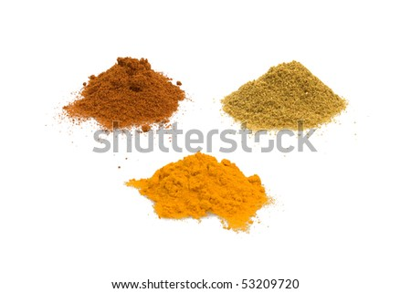 Food & Drinks - Spices - Cumin, turmeric and sweet paprika isolated on white background.
