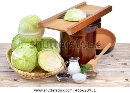 Food fermentation, preparation for making sauerkraut: White cabbage, caraway seeds, juniper berries, salt, whey, dill, a shredder, a tamper and a crock pot
