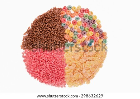 Food for a balanced diet in the form of circle. breakfast cereal - stock photo