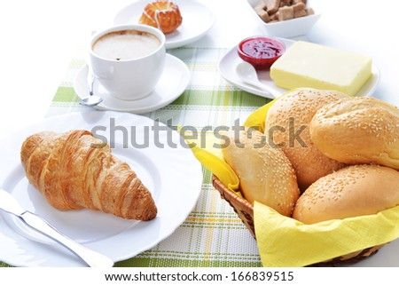 food for breakfast.coffee, buns, butter and jam