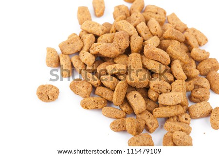 Food for cat, closeup on white background