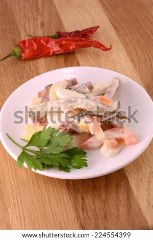 food, fresh salad with pepper - stock photo