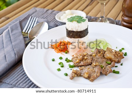 Food : Fried pork with rice