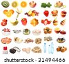Food, fruit and vegetable set isolated on white - stock photo