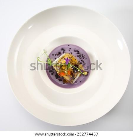 food gourmet cod hake flower purple potato - stock photo