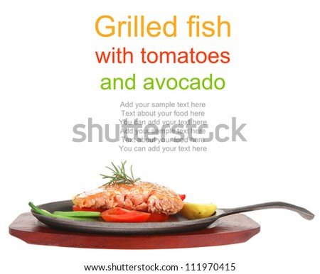 food: hot grilled salmon on metal pan over wooden plate isolated on white background - stock photo