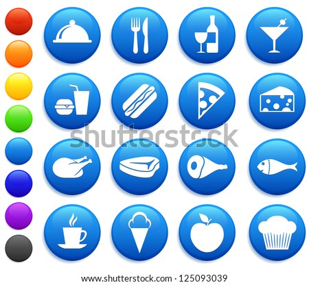 Food Icons on Round Button Collection Original Illustration - stock photo