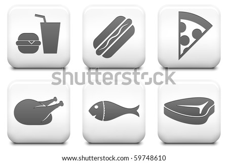Food Icons on Square Black and White Button Collection Original Illustration - stock photo
