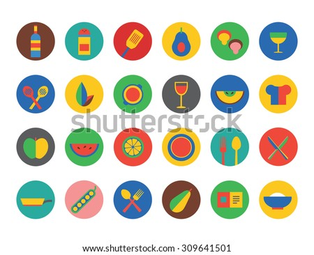 Food Icons set. Fruit, kitchen, food and drinks. Cup, eating and fork and spoon, vegetables, pot and natural food, vegan food. Milk, soup, wine, chef hat and coffee cup. Food icons - stock photo