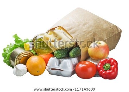 food in a paper bag isolated on white background - stock photo