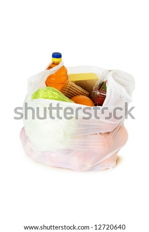 Food in a plastic bag isolated on white background - stock photo