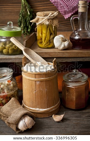 food in a rustic kitchen - stock photo
