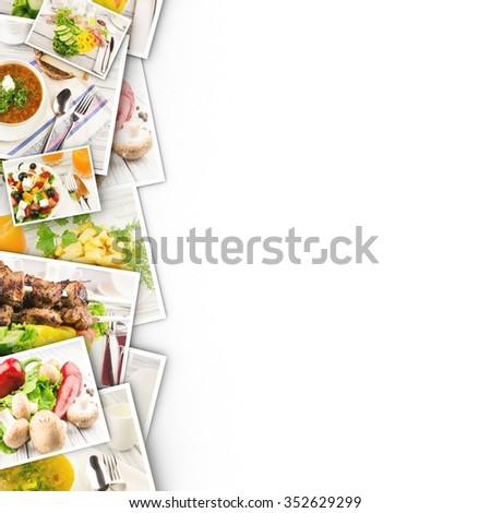 Food in photos on a white background. - stock photo