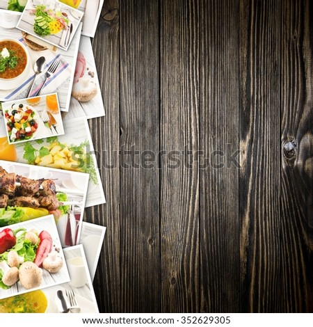 Food in photos on a wooden background. - stock photo