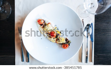 Food in restaurant on the table - stock photo