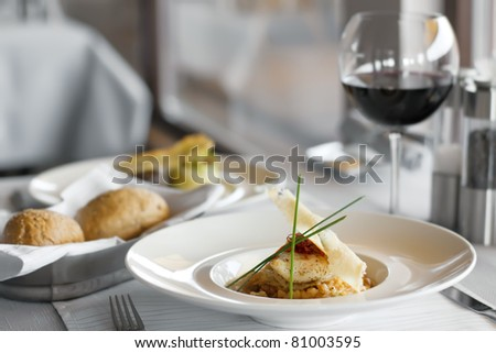 Food in restaurant on the table, appetizing - stock photo