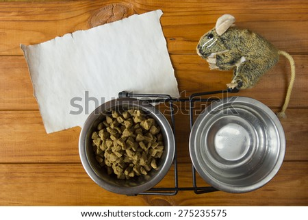 Food in the metal bowl for your pet. - stock photo