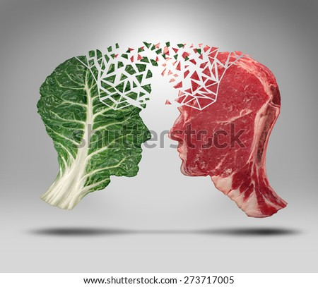 Food information and eating health balance exchange concept for choices with a human head shape green vegetable leaf and a red meat steak as nutritional fitness and lifestyle decisions or diet facts. - stock photo
