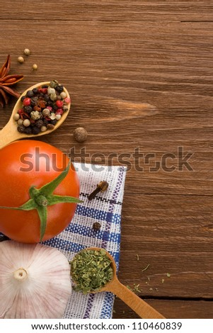 food ingredient and spices on wood background - stock photo