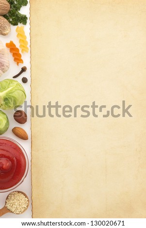 food ingredients and paper isolated on white background