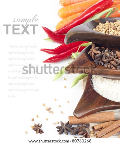 Food ingredients and vegetables with sample text - stock photo