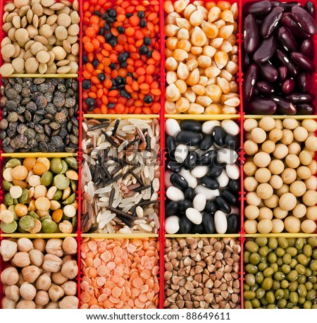 food ingredients : beans, legumes, peas, lentils  close up macro top view  backdrop - stock photo