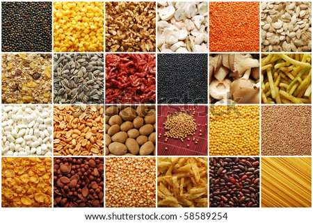 food ingredients collage / collection - stock photo