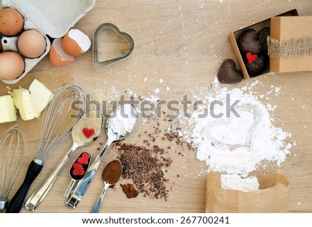 food ingredients for baking on a wooden table - stock photo