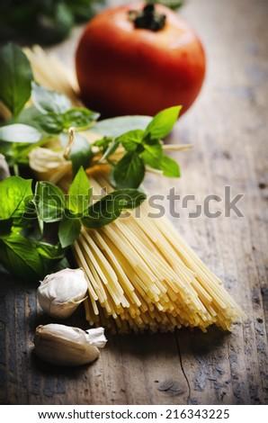 Food ingredients for italian pasta - stock photo