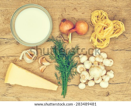 Food ingredients for pasta with mushrooms. Vintage effect. - stock photo