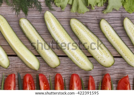 food ingredients frame. Frame wholesome food, space for text. View from above. selective focus - stock photo