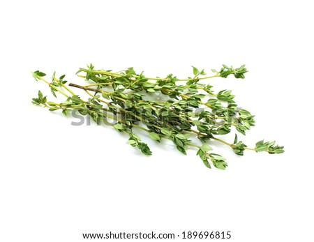 Food  ingredients - fresh thyme, (Thymus) isolated over white background