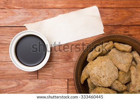 Food ingredients made from soy - soy meat, sauce. - stock photo