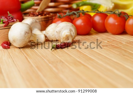 Food ingredients on the bamboo table - stock photo