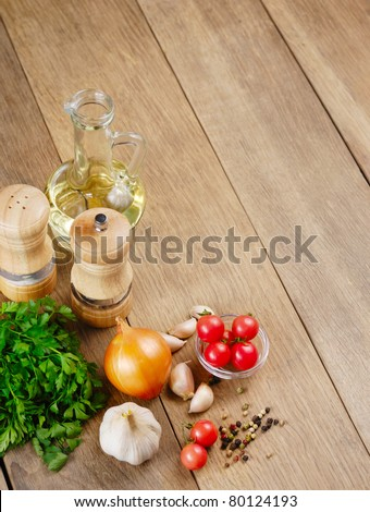 Food ingredients on the kitchen table closeup shot