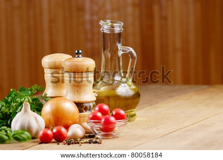 Food ingredients on the oak table closeup shot - stock photo