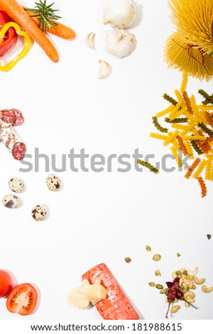 Food ingredients scattered around the white background. Food frame. Background for menu - stock photo