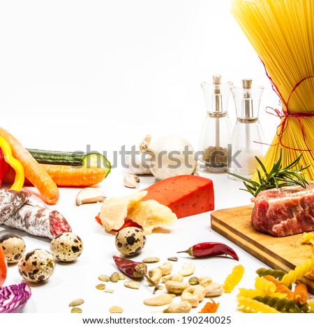 Food ingredients scattered around the white background. Isolated with light shadow. Restaurant menu concept, squared design - stock photo