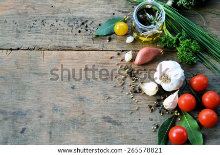 food ingredients, spices, herbs and olive oil - stock photo