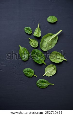 Food ingredients: spinach leaves. View from above, studio shot - stock photo