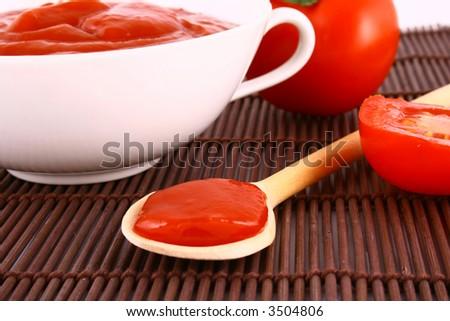 Food ingredients - tomato paste jar-red tomato - stock photo