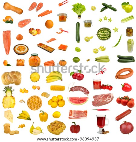 food isolated on a white background, set